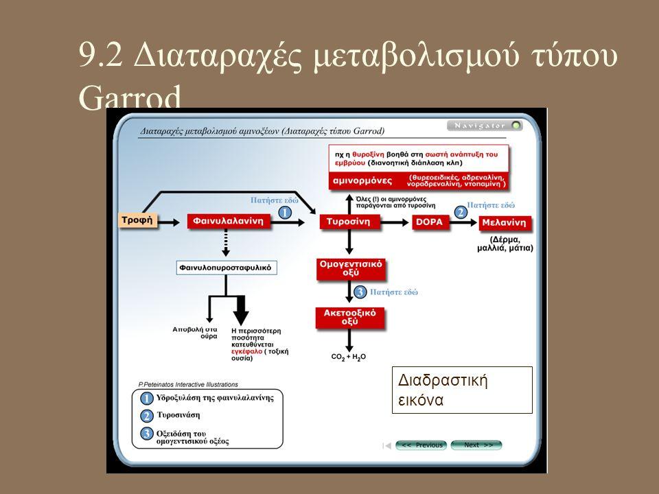 9.2 Διαταραχές μεταβολισμού τύπου Garrod