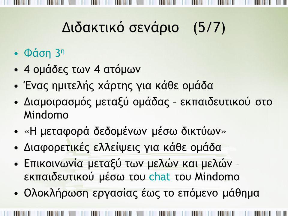 Διδακτικό σενάριο (5/7) Φάση 3η 4 ομάδες των 4 ατόμων