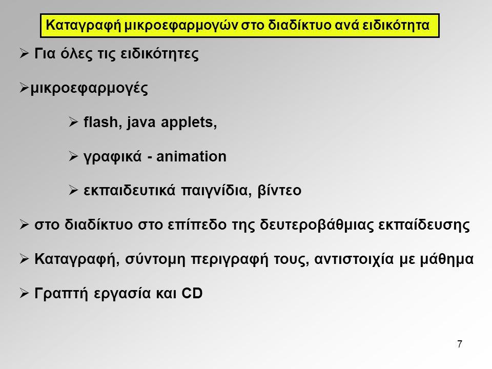Για όλες τις ειδικότητες μικροεφαρμογές flash, java applets,