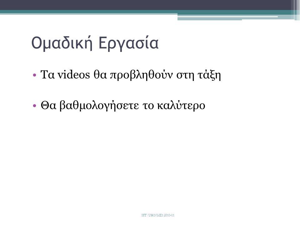 Ομαδική Εργασία Τα videos θα προβληθούν στη τάξη