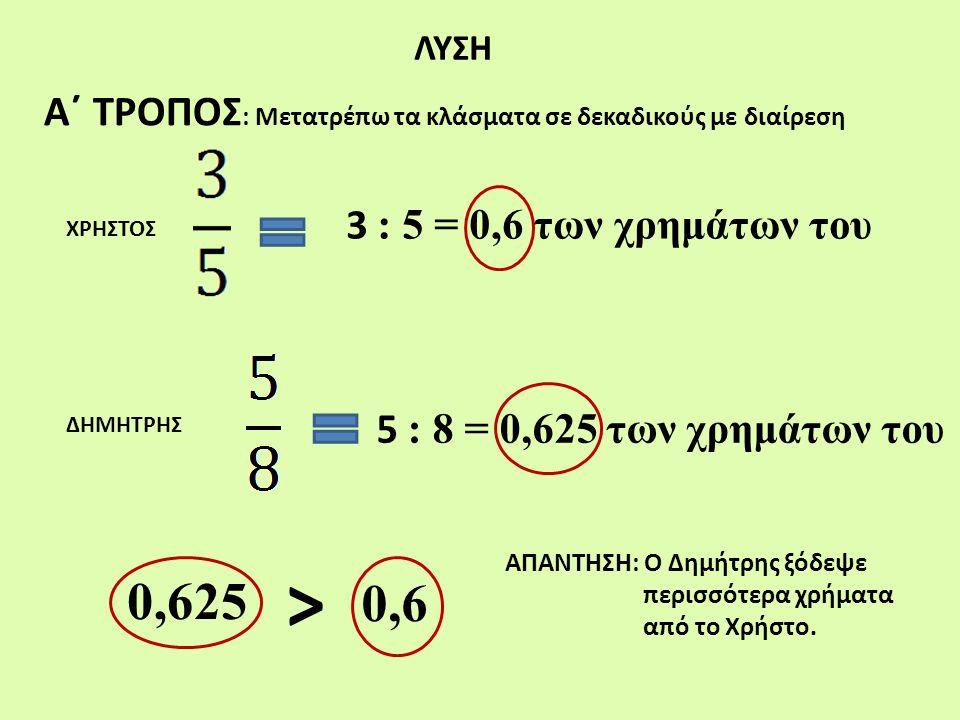 ΛΥΣΗ Α΄ ΤΡΟΠΟΣ: Μετατρέπω τα κλάσματα σε δεκαδικούς με διαίρεση. 3 : 5 = 0,6 των χρημάτων του. ΧΡΗΣΤΟΣ.