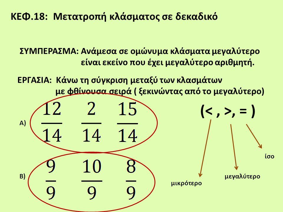 (< , >, = ) ΚΕΦ.18: Μετατροπή κλάσματος σε δεκαδικό