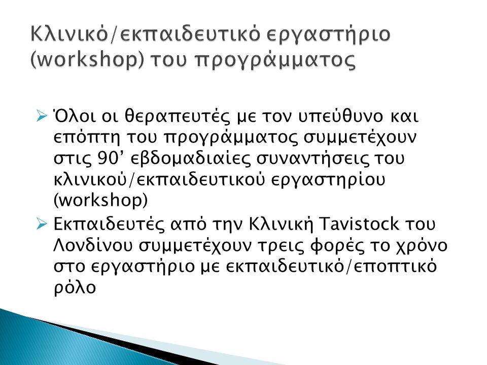 Κλινικό/εκπαιδευτικό εργαστήριο (workshop) του προγράμματος