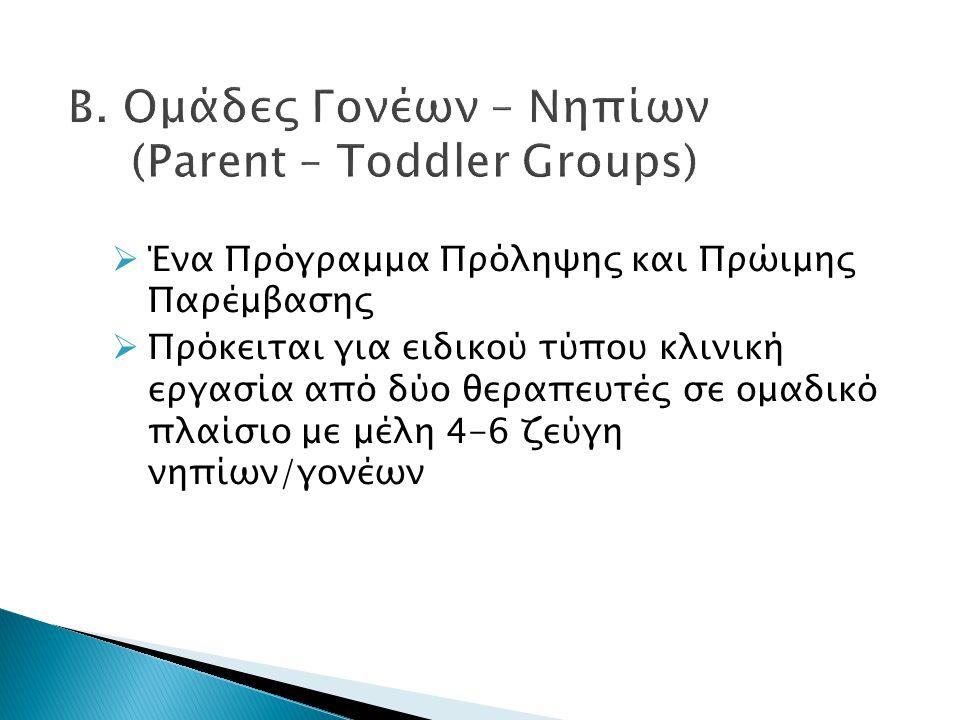 Β. Ομάδες Γονέων – Νηπίων (Parent – Toddler Groups)