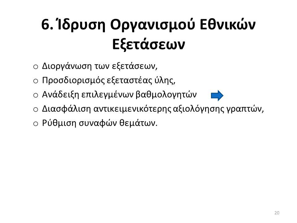 6. Ίδρυση Οργανισμού Εθνικών Εξετάσεων