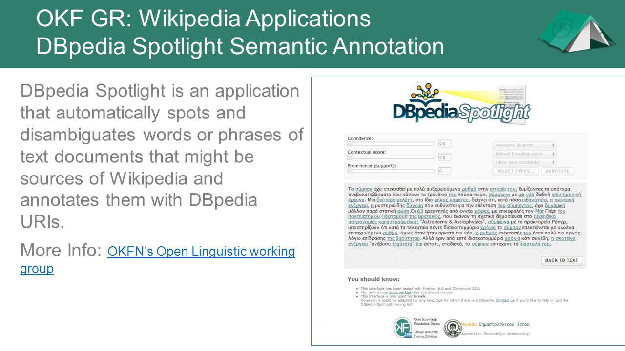 OKF GR: Wikipedia Applications DBpedia Spotlight Semantic Annotation