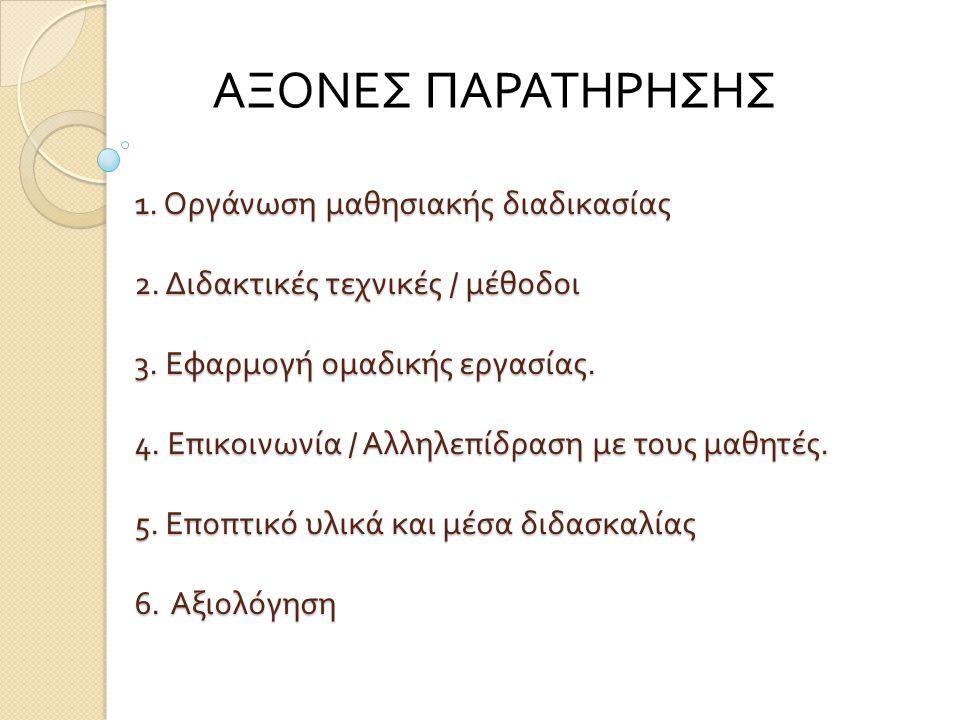 ΑΞΟΝΕΣ ΠΑΡΑΤΗΡΗΣΗΣ