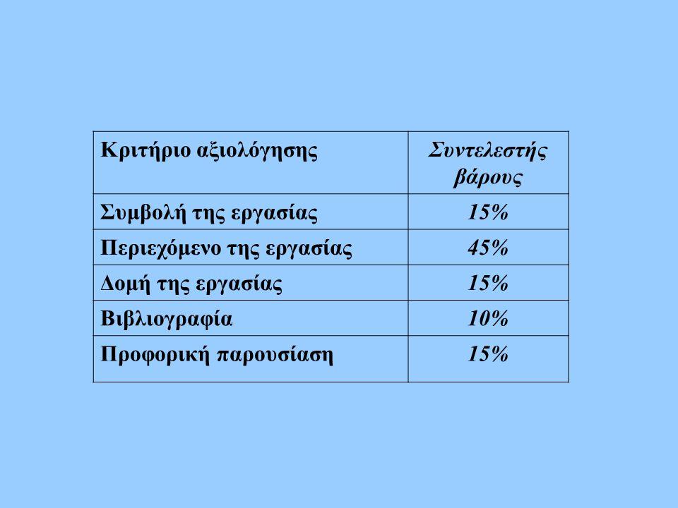 Κριτήριο αξιολόγησης Συντελεστής βάρους. Συμβολή της εργασίας. 15% Περιεχόμενο της εργασίας. 45%