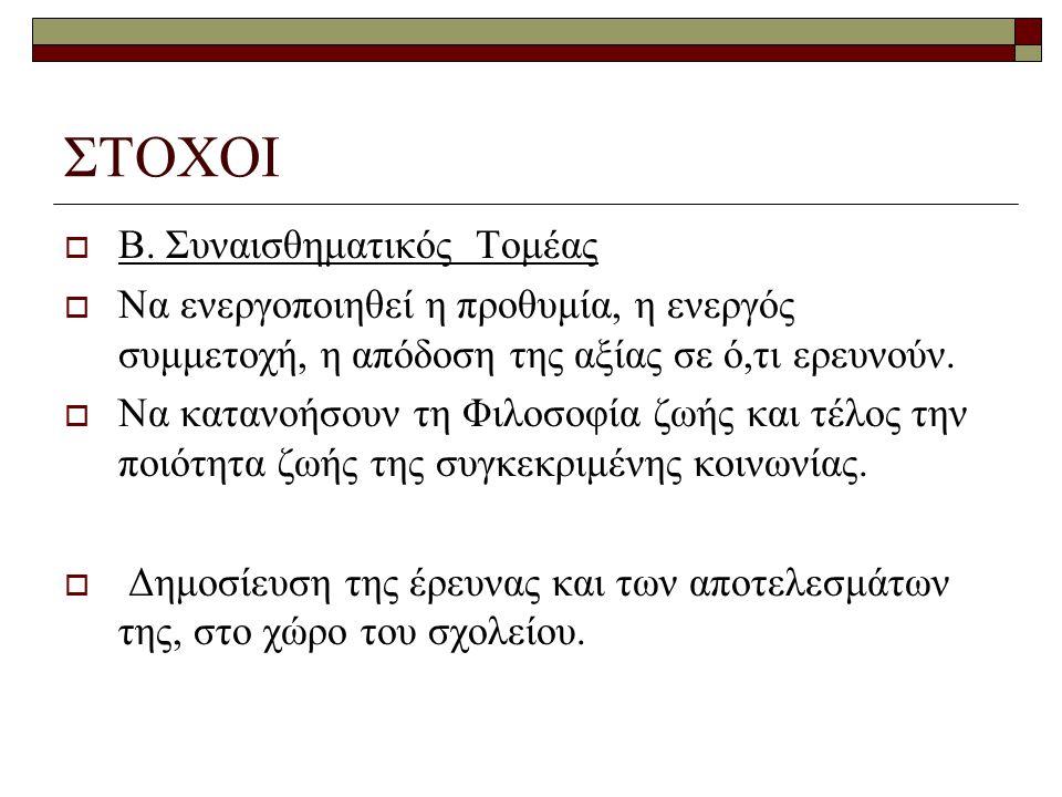 ΣΤΟΧΟΙ Β. Συναισθηματικός Τομέας