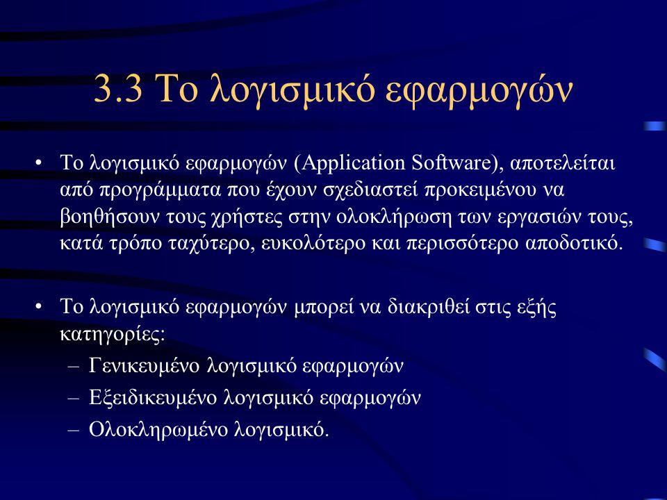 3.3 Το λογισμικό εφαρμογών