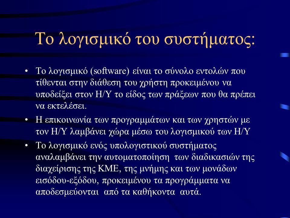 Το λογισμικό του συστήματος: