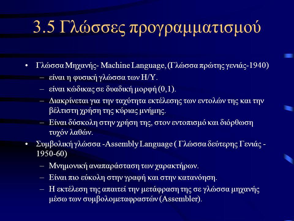 3.5 Γλώσσες προγραμματισμού