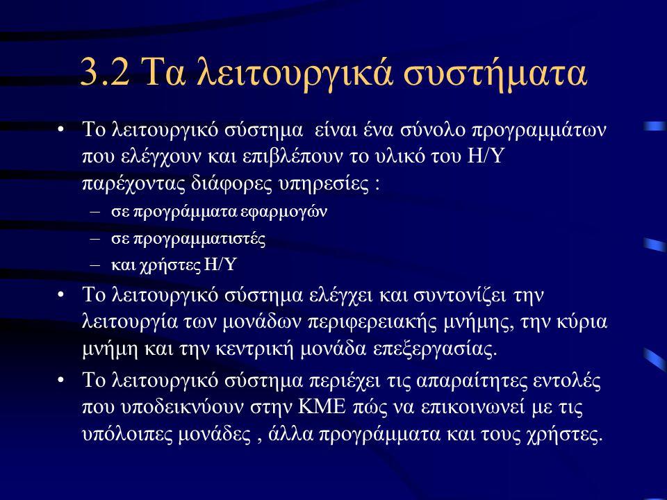 3.2 Τα λειτουργικά συστήματα