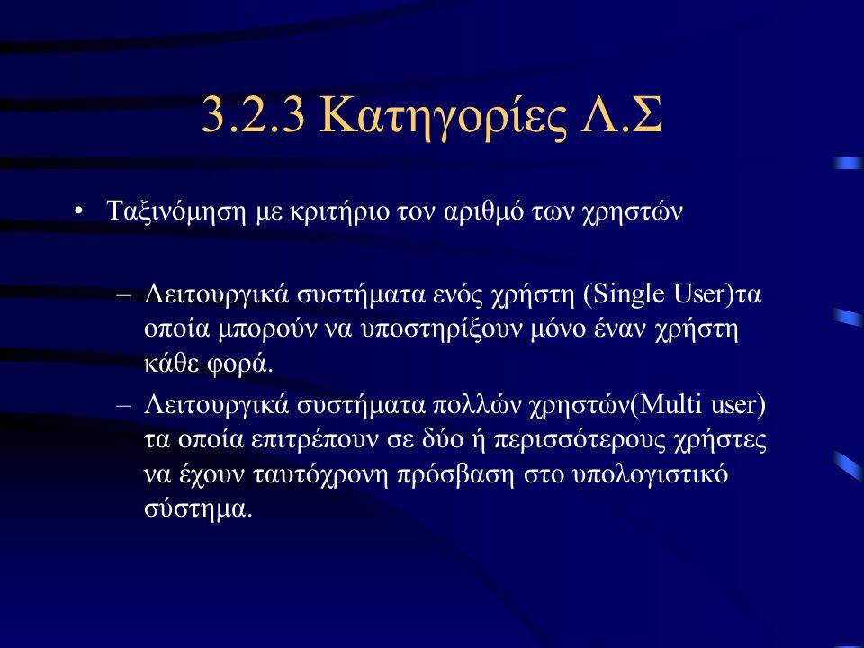 3.2.3 Κατηγορίες Λ.Σ Ταξινόμηση με κριτήριο τον αριθμό των χρηστών