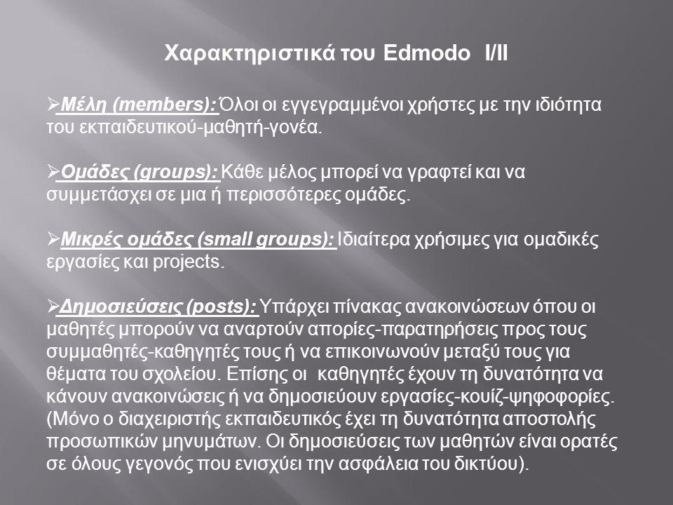 Χαρακτηριστικά του Edmodo Ι/ΙΙ