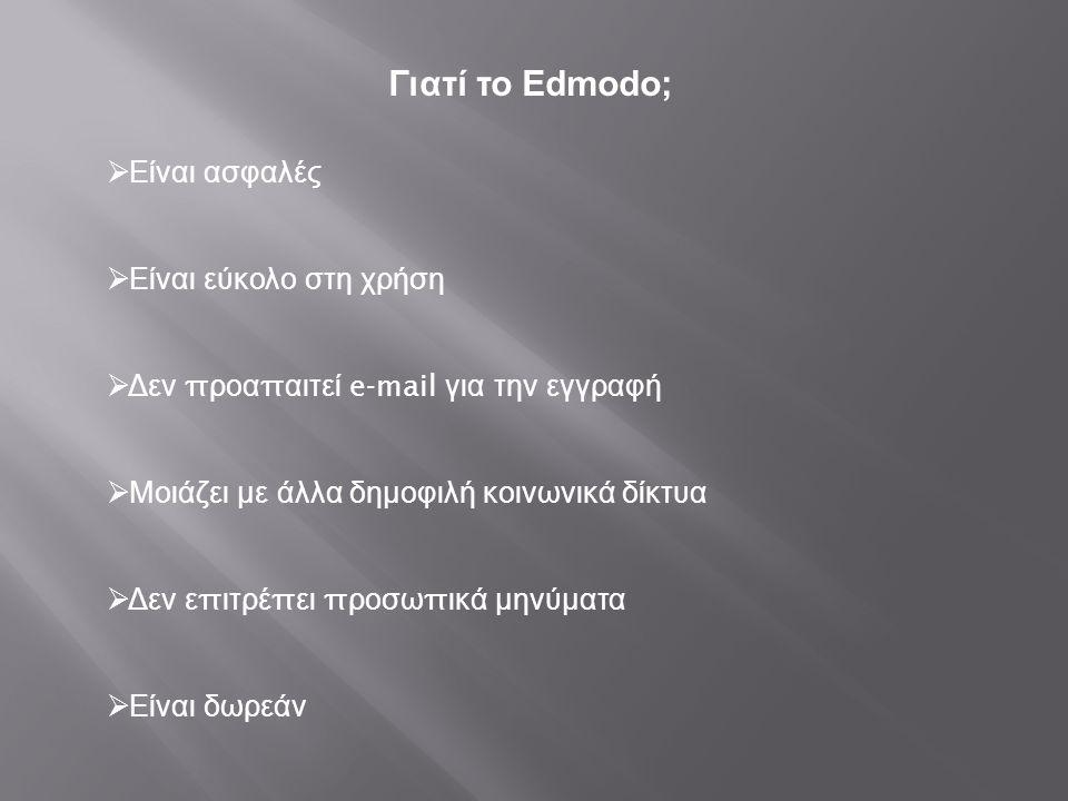 Γιατί το Edmodo; Είναι ασφαλές Είναι εύκολο στη χρήση