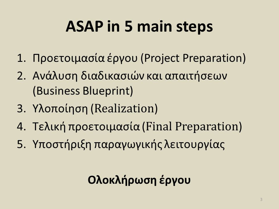 ASAP in 5 main steps Προετοιμασία έργου (Project Preparation)