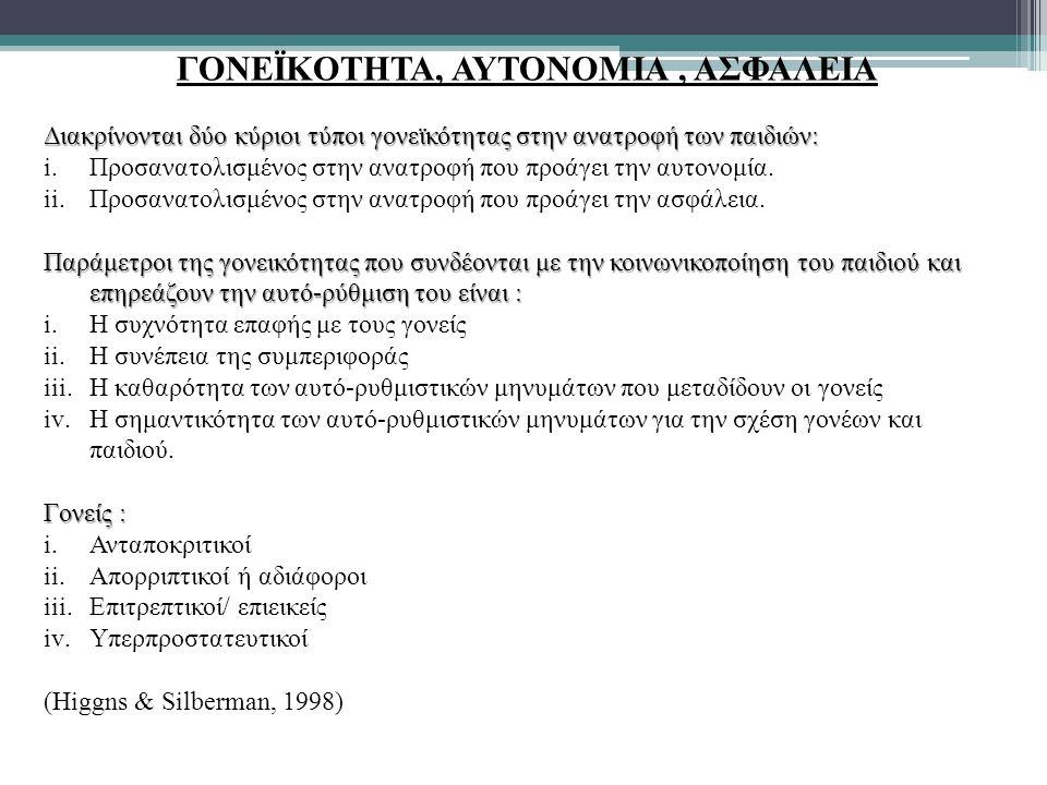 ΓΟΝΕΪΚΟΤΗΤΑ, ΑΥΤΟΝΟΜΙΑ , ΑΣΦΑΛΕΙΑ