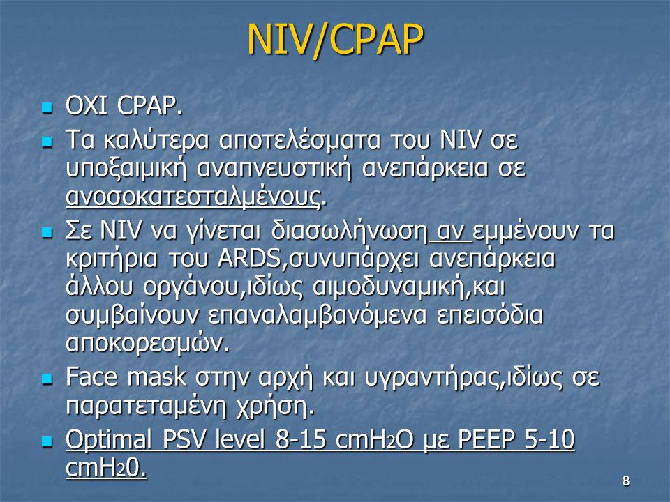 NIV/CPAP OΧΙ CPAP. Τα καλύτερα αποτελέσματα του NIV σε υποξαιμική αναπνευστική ανεπάρκεια σε ανοσοκατεσταλμένους.