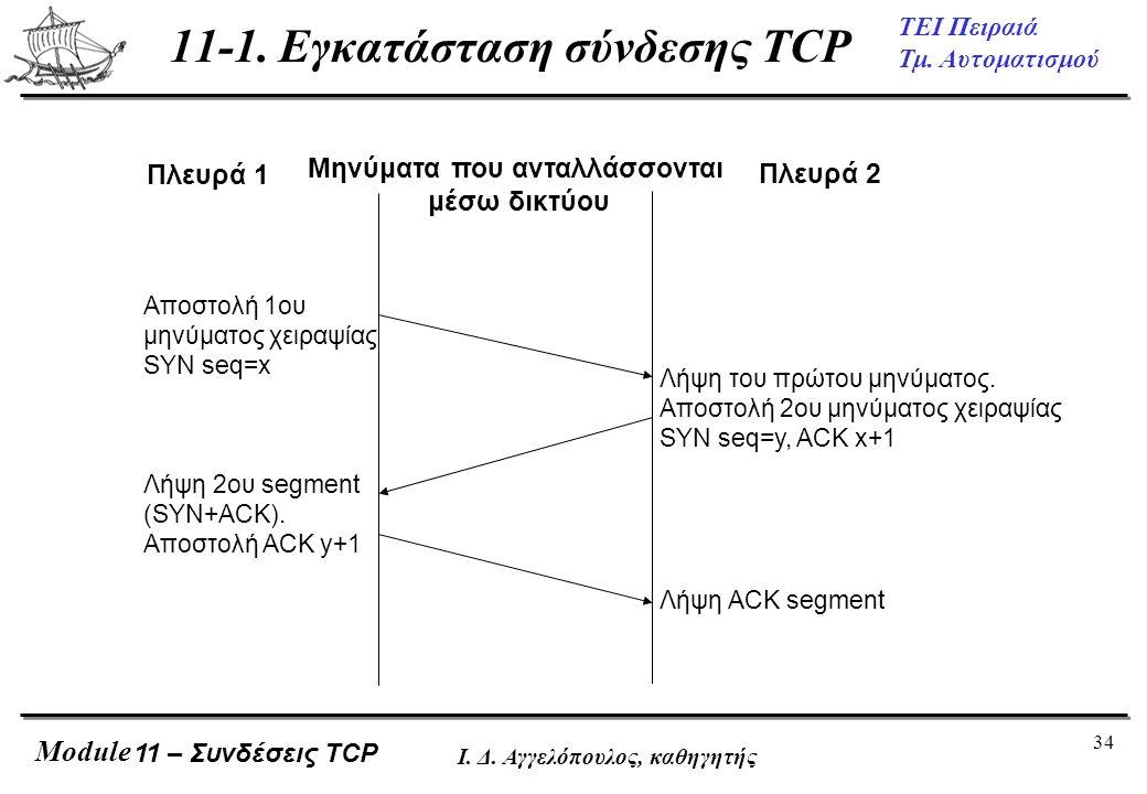 11-1. Εγκατάσταση σύνδεσης TCP
