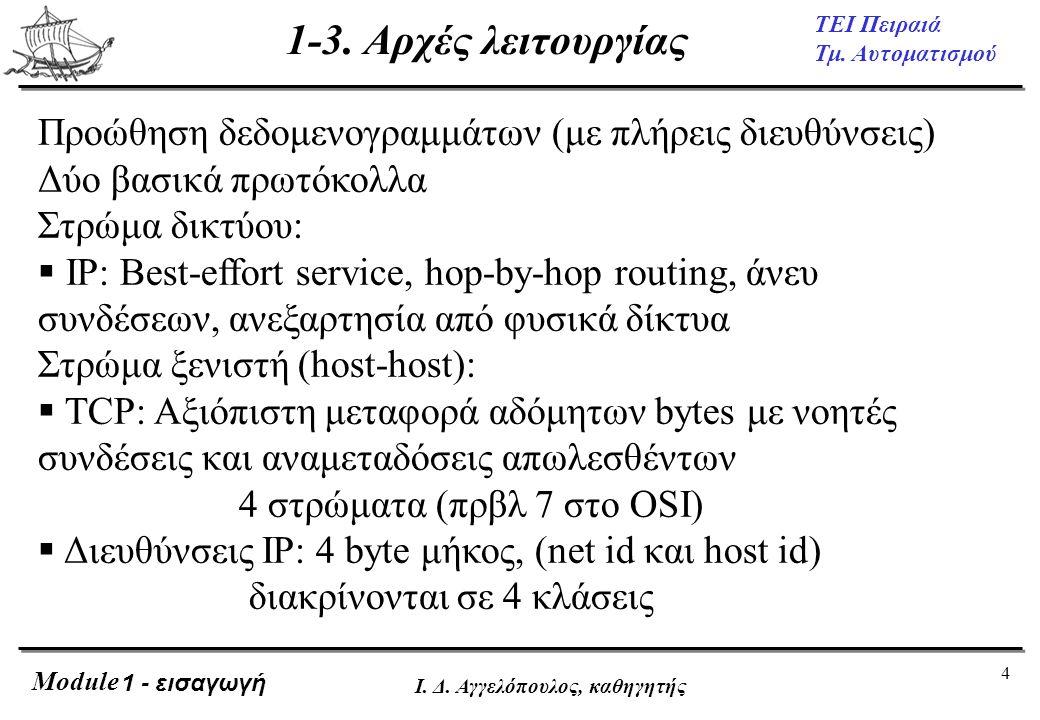 1-3. Αρχές λειτουργίας Προώθηση δεδομενογραμμάτων (με πλήρεις διευθύνσεις) Δύο βασικά πρωτόκολλα. Στρώμα δικτύου: