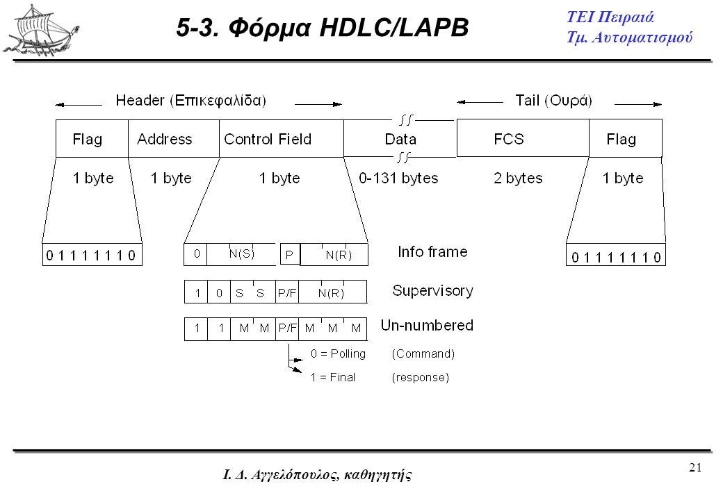 5-3. Φόρμα HDLC/LAPB Ι. Δ. Αγγελόπουλος, καθηγητής