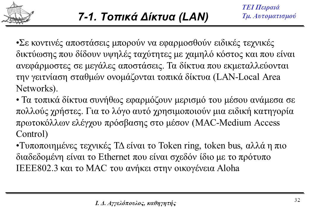7-1. Τοπικά Δίκτυα (LAN)