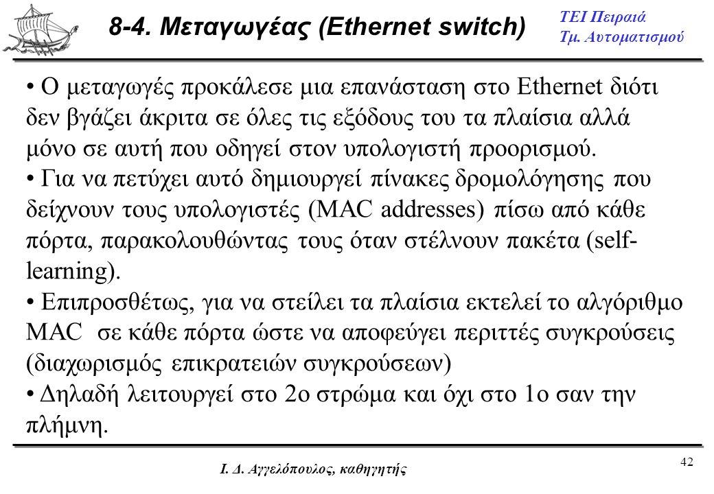 8-4. Μεταγωγέας (Ethernet switch)