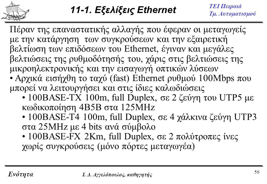 11-1. Εξελίξεις Ethernet