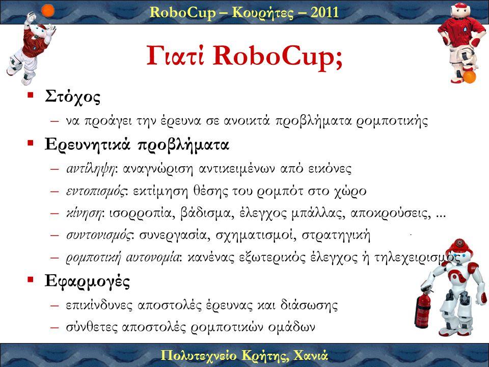 Γιατί RoboCup; Στόχος Ερευνητικά προβλήματα Εφαρμογές