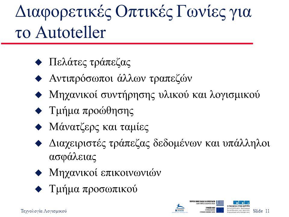 Διαφορετικές Οπτικές Γωνίες για το Autoteller