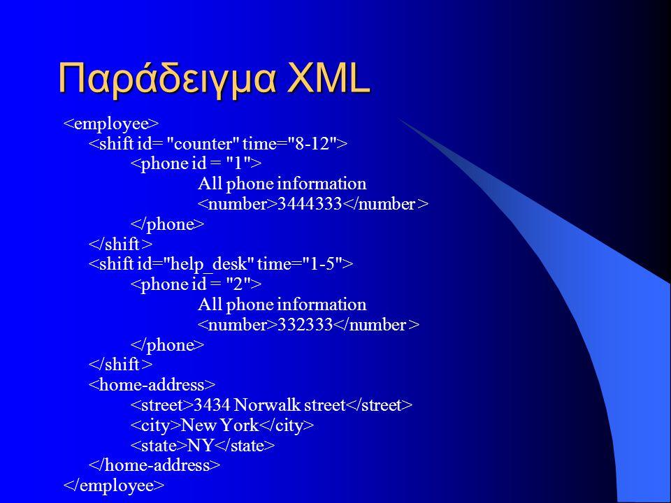 Παράδειγμα XML <employee>