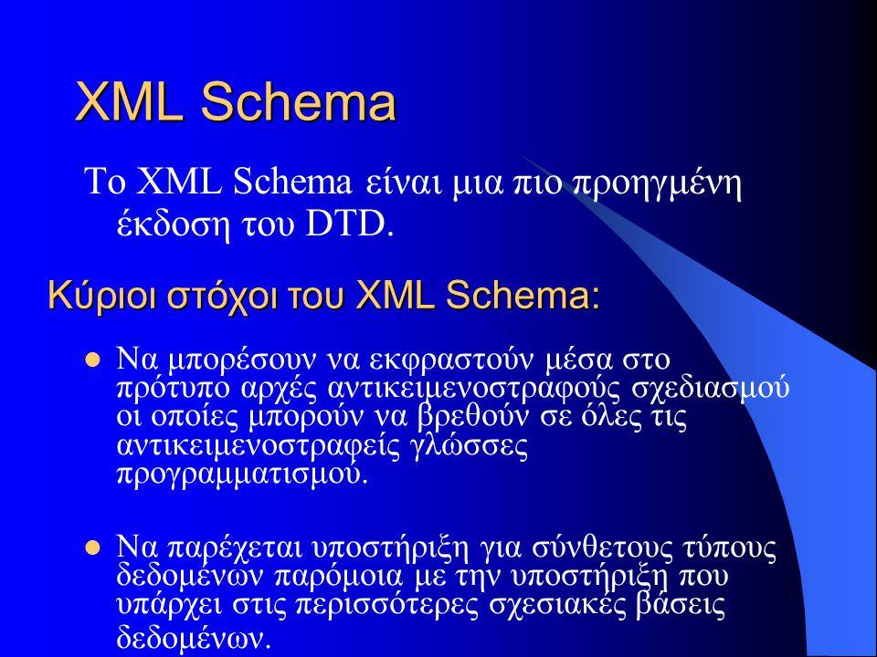 XML Schema Το XML Schema είναι μια πιο προηγμένη έκδοση του DTD.
