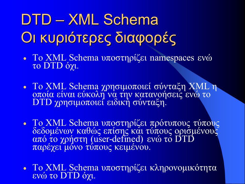 DTD – XML Schema Οι κυριότερες διαφορές