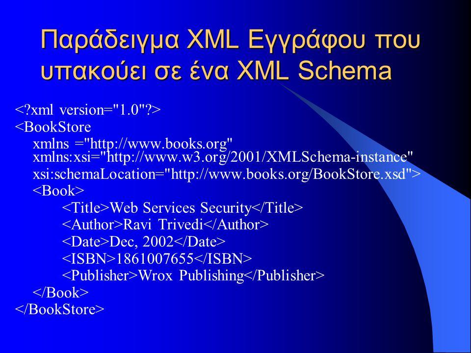 Παράδειγμα XML Εγγράφου που υπακούει σε ένα XML Schema