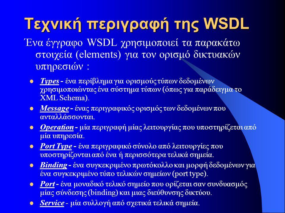 Τεχνική περιγραφή της WSDL