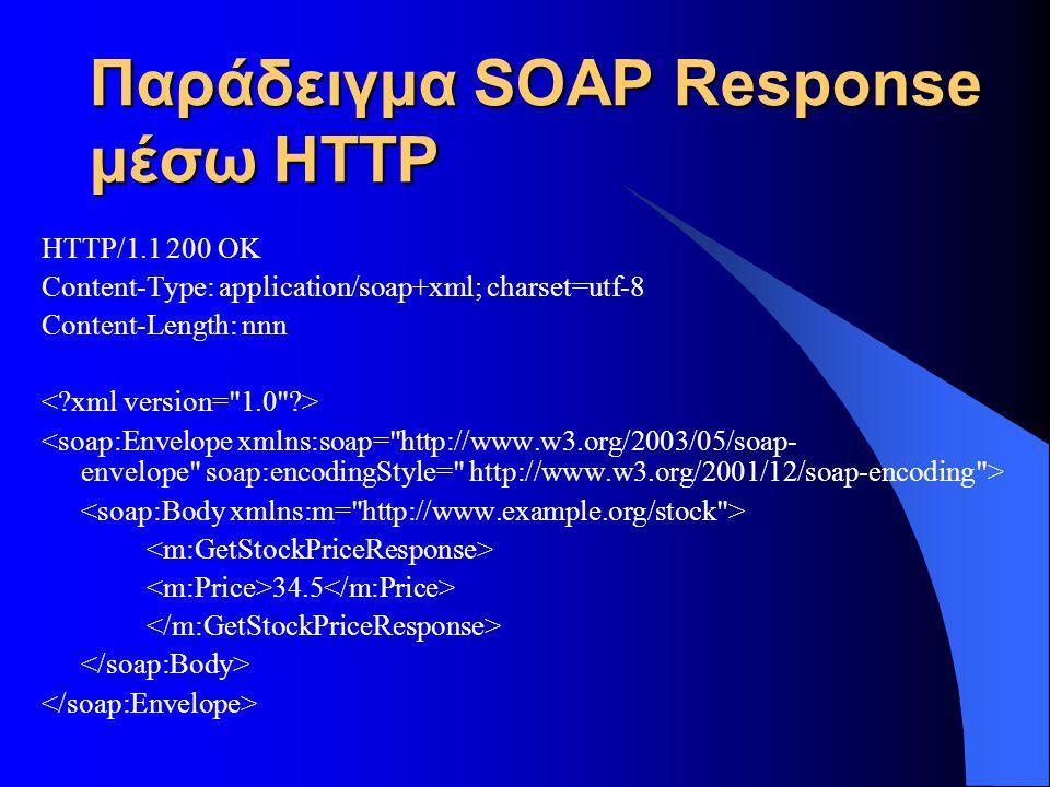 Παράδειγμα SOAP Response μέσω HTTP