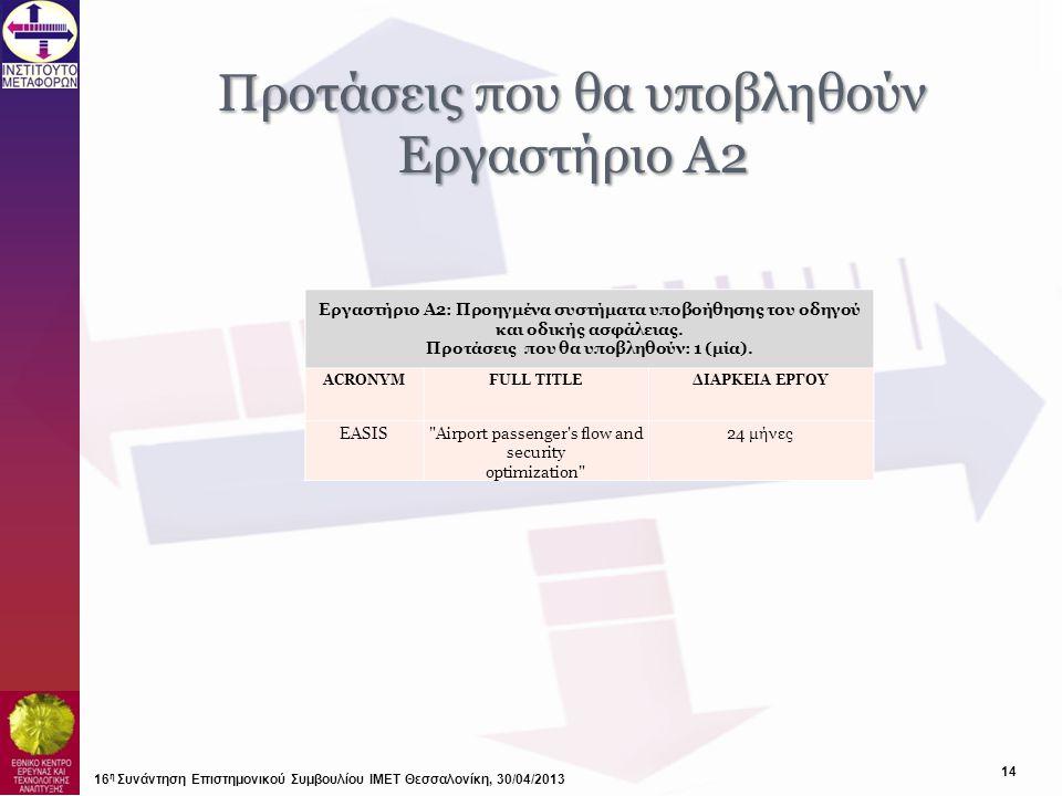 Προτάσεις που θα υποβληθούν Εργαστήριο Α2
