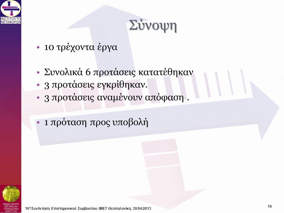 Σύνοψη 10 τρέχοντα έργα Συνολικά 6 προτάσεις κατατέθηκαν
