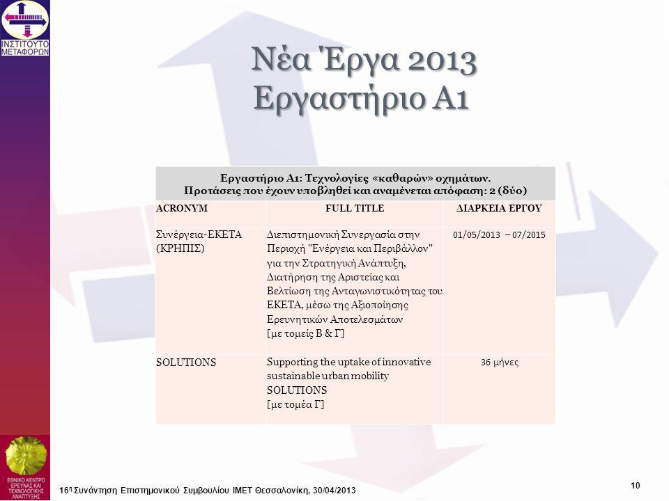 Νέα Έργα 2013 Εργαστήριο Α1. Εργαστήριο Α1: Τεχνολογίες «καθαρών» οχημάτων. Προτάσεις που έχουν υποβληθεί και αναμένεται απόφαση: 2 (δύο)