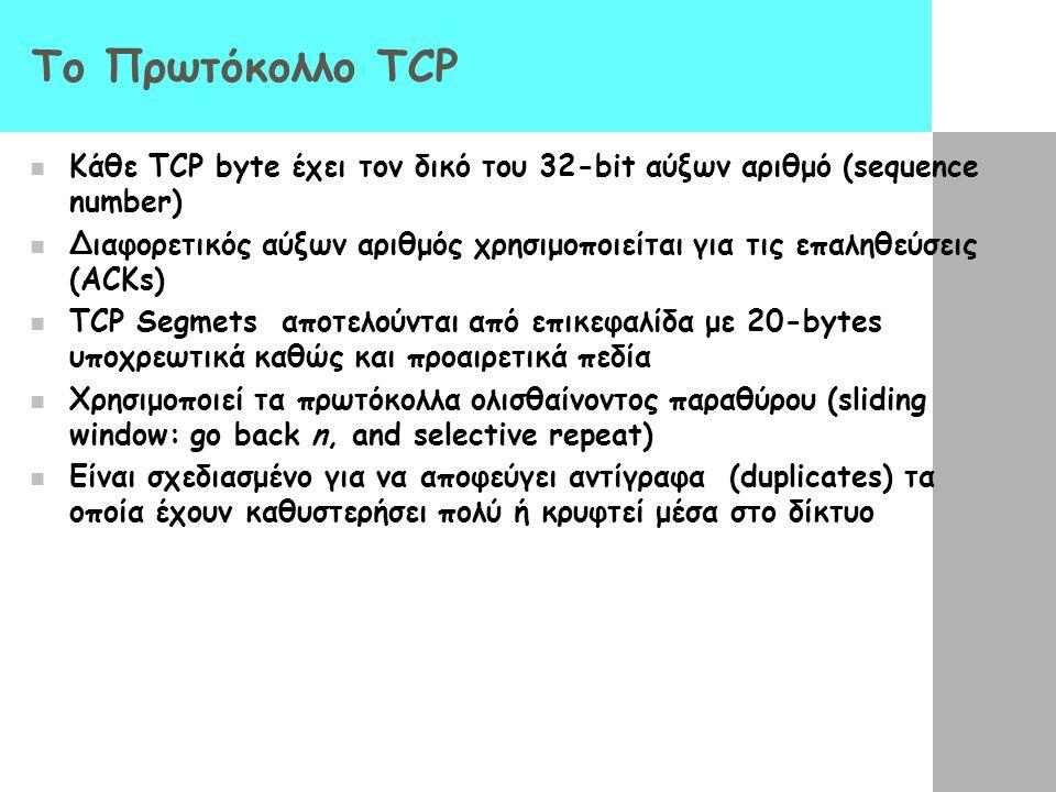 Το Πρωτόκολλο TCP Κάθε TCP byte έχει τον δικό του 32-bit αύξων αριθμό (sequence number)