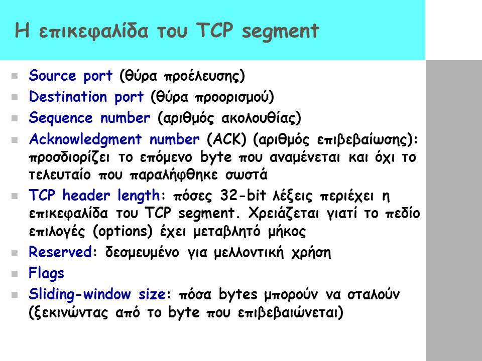 H επικεφαλίδα του TCP segment
