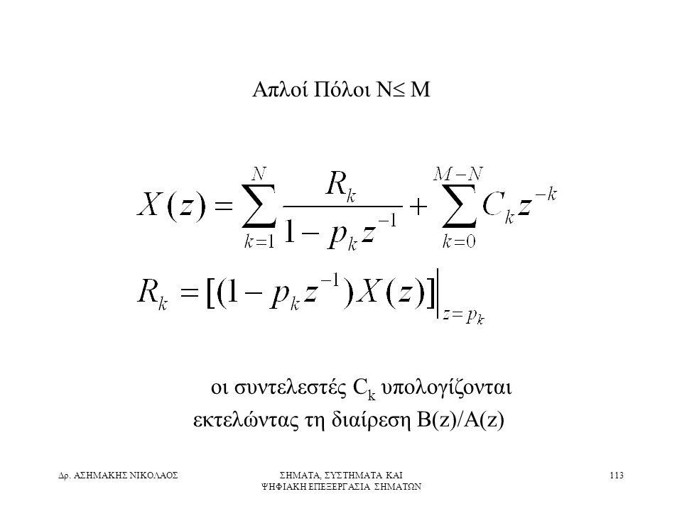 οι συντελεστές Ck υπολογίζονται εκτελώντας τη διαίρεση B(z)/A(z)