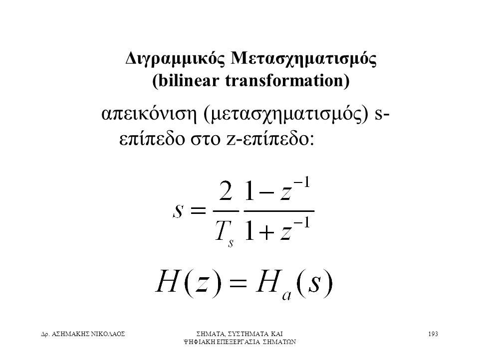 Διγραμμικός Μετασχηματισμός (bilinear transformation)