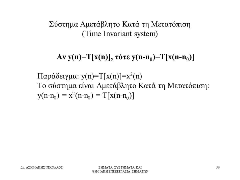 Σύστημα Αμετάβλητο Κατά τη Μετατόπιση (Time Invariant system)