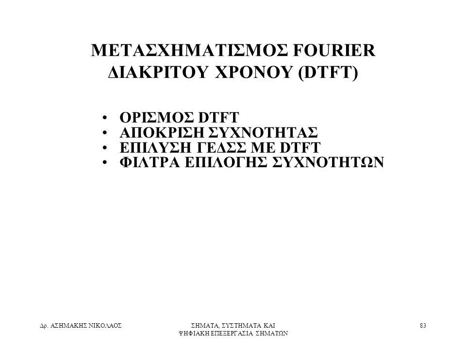 ΜΕΤΑΣΧΗΜΑΤΙΣΜΟΣ FOURIER ΔΙΑΚΡΙΤΟΥ ΧΡΟΝΟΥ (DTFT)