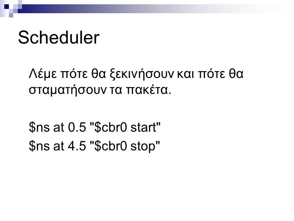 Scheduler Λέμε πότε θα ξεκινήσουν και πότε θα σταματήσουν τα πακέτα.