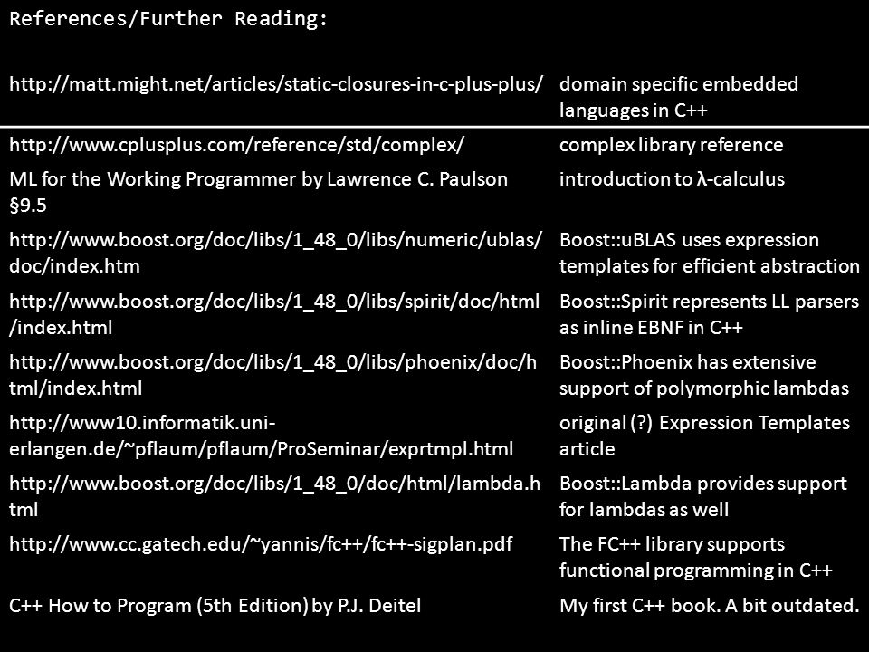 References/Further Reading: