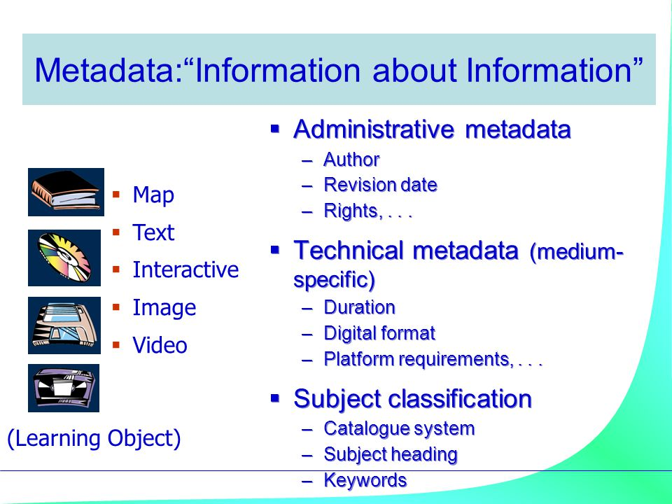 Metadata: Information about Information