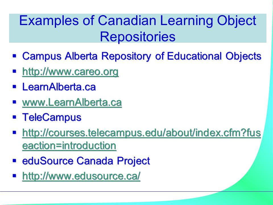 Examples of Canadian Learning Object Repositories